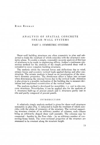 Analysis of spatial concrete shear-wall systems