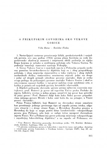 O prikupskim govorima oko Vukove Gorice / V. Barac i B. Finka