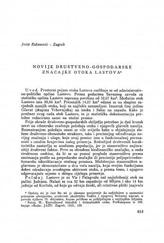 Novije društveno-gospodarske značajke otoka Lastova / J. Riđanović