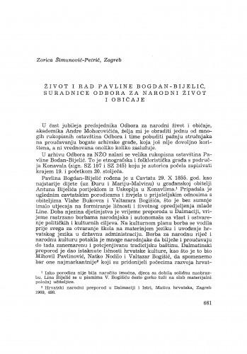 Život i rad Pavline Bogdan-Bijelić, suradnice Odbora za narodni život i običaje / Z. Šimunović-Petrić