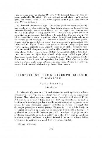 Elementi indijske kulture pri Ciganih v Sloveniji
