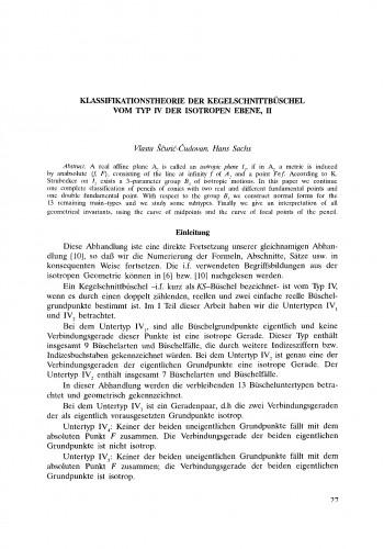 Klassifikationstheorie der Kegelschnittbüschel vom Typ IV der isotropen Ebene, II