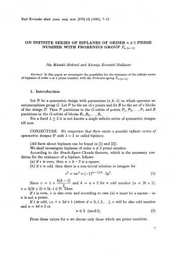 On infinite series of biplanes of order n ≠ 2 prime number with Frobenius group Fn(n-1)