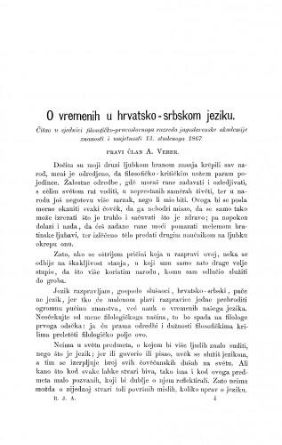 O vremenih u hrvatsko-srbskom jeziku : RAD