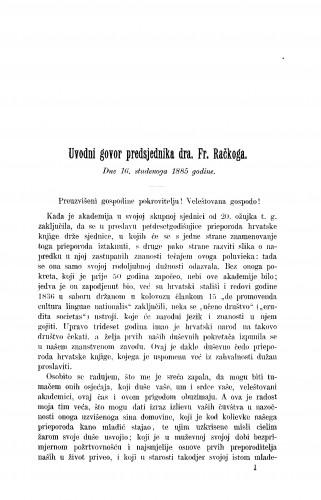 Uvodni govor dra. Fr. Račkoga : RAD