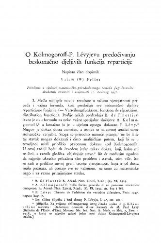 O Kolmogoroff- P. Lévyjevu predočivanju beskonačno djeljivih funkcija reparticije