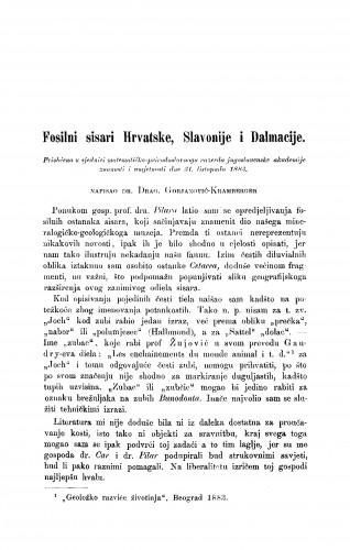 Fosilni sisari Hrvatske, Slavonije i Dalmacije
