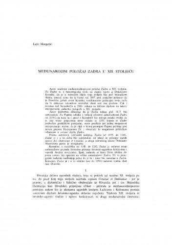 Međunarodni položaj Zadra u XII. stoljeću