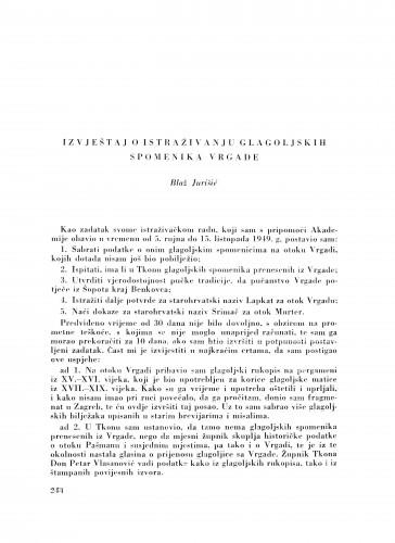 Izvještaj o istraživanju glagoljskih spomenika Vrgade / B. Jurišić