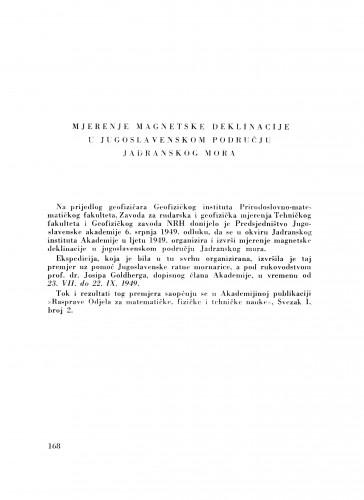 Mjerenje magnetske deklinacije u jugoslavenskom području Jadranskog mora