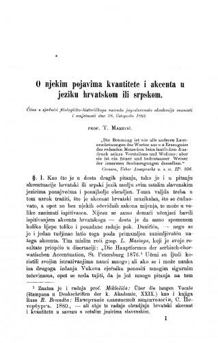 O njekim pojavama kvantitete i akcenta u jeziku hrvatskom ili srpskom