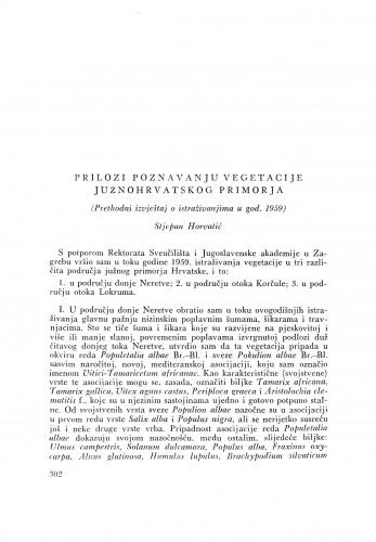 Prilozi poznavanju vegetacije južnohrvatskog primorja / S. Horvatić