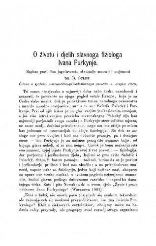 O životu i djelih slavnoga fiziologa Ivana Purkynje : RAD