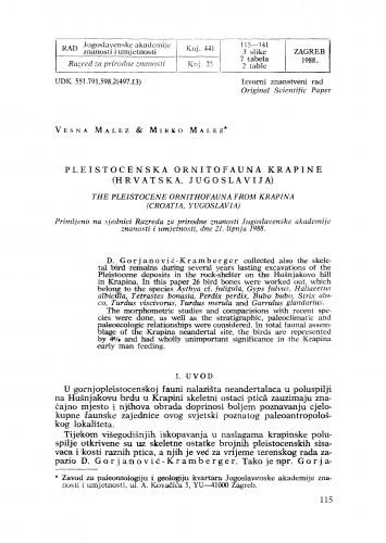 Pleistocenska ornitofauna Krapine (Hrvatska, Jugoslavija)