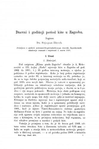 Dnevni i godišnji period kiše u Zagrebu