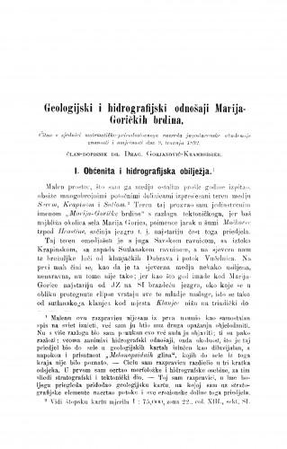 Geologijski i hidrografijski odnošaji Marija-Goričkih brdina