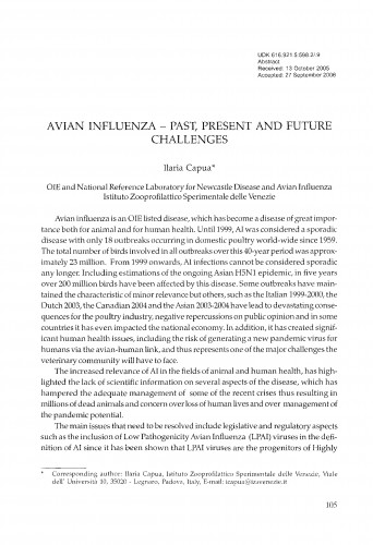 Avian influenza - past, present and future challenges