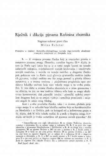 Rječnik i dikcija pjesama Rańinina zbornika