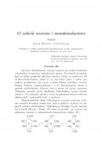 O reakciji resorcina i monobencalacetona