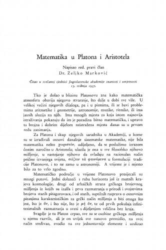 Matematika u Platona i Aristotela