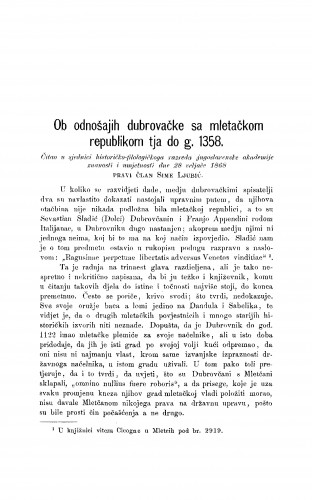 Ob odnošajih dubrovačke sa mletačkom repulikom tja do g. 1358 : RAD