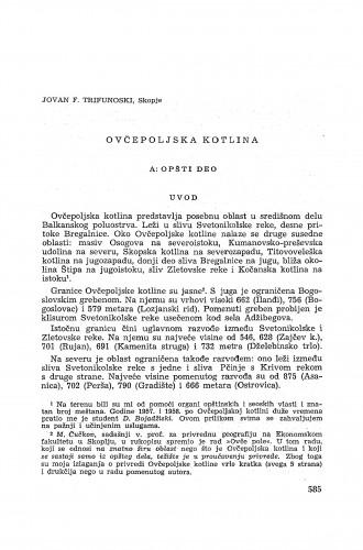 Ovčepoljska kotlina / J. F. Trifunoski
