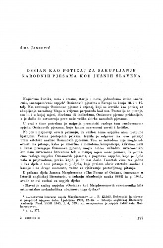 Ossian kao poticaj za sakupljanje narodnih pjesama kod Južnih Slavena / M. Janković
