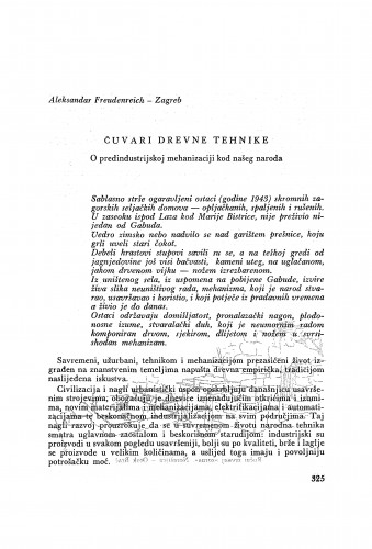 Čuvari drevne tehnike : o predindustrijskoj mehanizaciji kod našeg naroda / A. Freudenreich