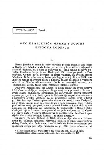 Oko Kraljevića Marka i godine njegova rođenja / S. Banović