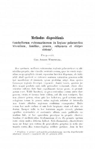 Methodus dispositionis Conchyliorum extramarinorum in Regione palaearctica viventium, familias, genera, subgenera et stirpes sistens