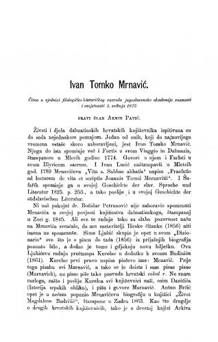 Ivan Tomko Mrnavić : RAD