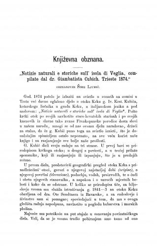 Notizie naturali e storiche sull' isola di Veglia, compilate dal dr. Giambatista Cubich. Trieste. 1874 : književna obznana : RAD