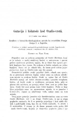 Gutacija i hidatode kod Oxalis-vrstâ