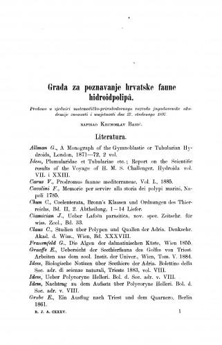 Građa za poznavanje hrvatske faune hidroidpolipâ