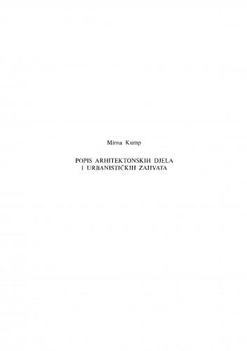 Popis arhitektonskih djela i urbanističkih zahvata [Ivana Meštrovića]