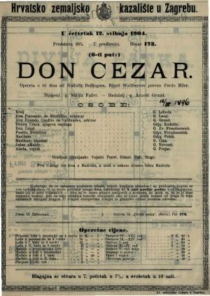 Don Cezar opereta u tri čina / od Rudolfa Dellingera