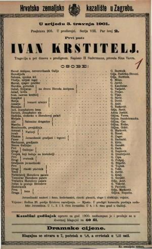 Ivan Krstitelj tragedija u pet činova s predigrom / napisao H. Sudermann