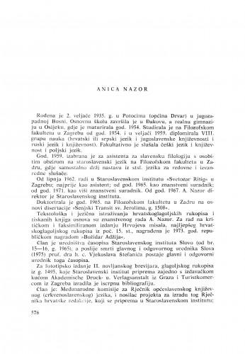 Anica Nazor : [biografije novih članova Akademije]