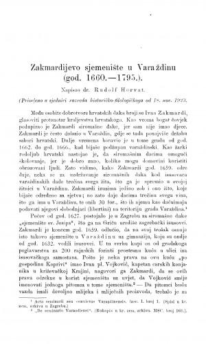 Zakmardijevo sjemenište u Varaždinu : (god. 1660.-1795.) / R. Horvat