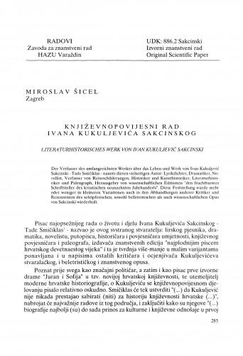 Književnopovijesni rad Ivana Kukuljevića Sakcinskog : Radovi Zavoda za znanstveni rad Varaždin
