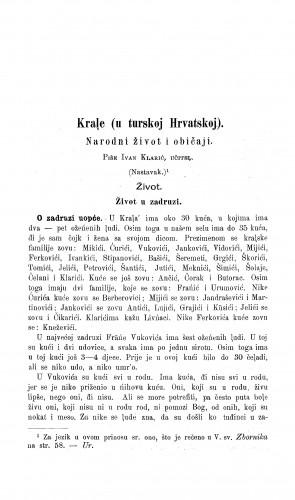 Krale (u turskoj Hrvatskoj) : narodni život i običaji / I. Klarić
