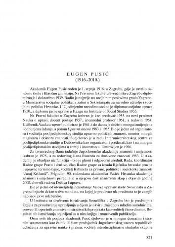 Eugen Pusić (1916.-2010.) : nekrolog : Ljetopis