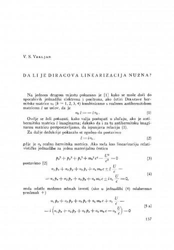 Da li je Diracova linearizacija nužna?