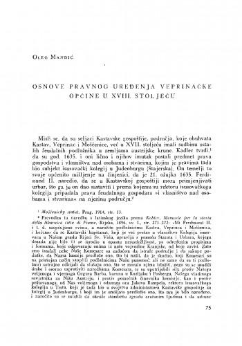 Osnove pravnog uređenja Veprinačke općine u XVIII. stoljeću