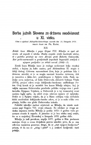 Borba južnih Slovena za državnu neodvisnost u XI. vieku : RAD