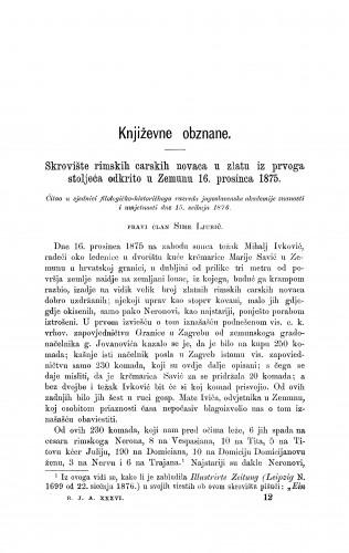Skrovište rimskih carskih novaca u zlatu iz prvoga stoljeća odkrito u Zemunu 16. prosinca 1875 : [književna obznana] : RAD