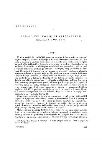 Prilog velikoj buni križevačkih seljaka god. 1755. / Igor Karaman