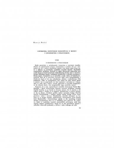 Usporedba estetičkih koncepcija o muzici u Hindemitha i Stravinskog