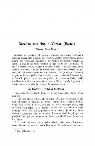 Narodna medicina u Varešu (Bosna) / M. Žuljić