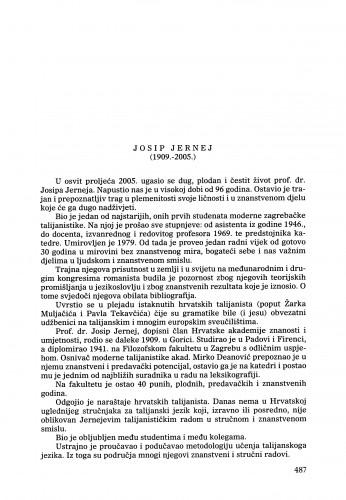Josip Jernej (1909.-2005.) : [nekrolog] : Ljetopis